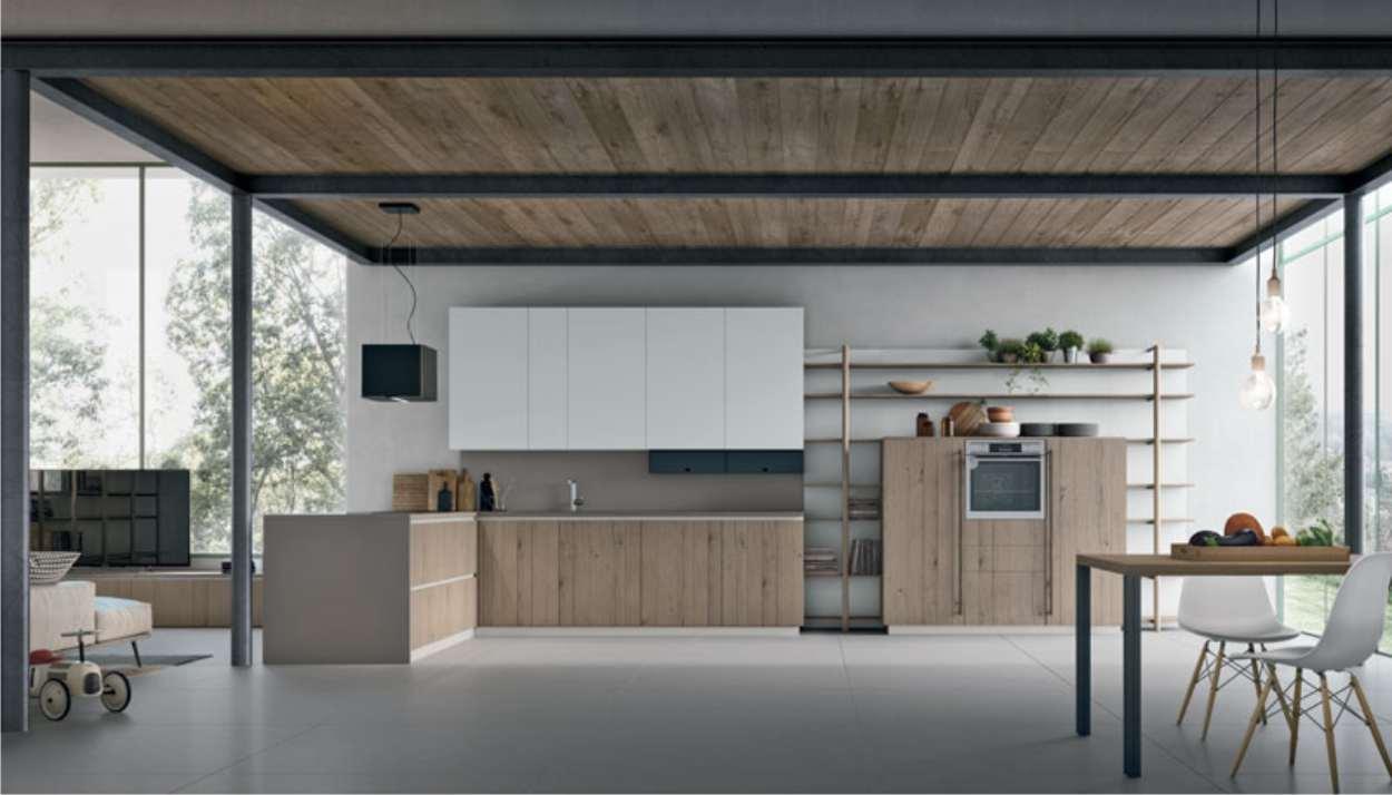 cucina in stile moderno con legno chiaro