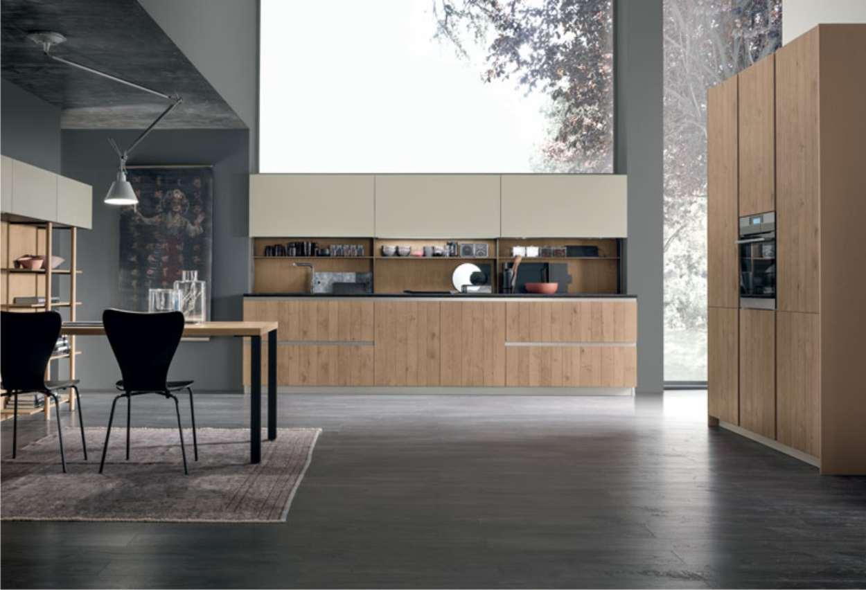 cucina lineare da 360 cm in legno