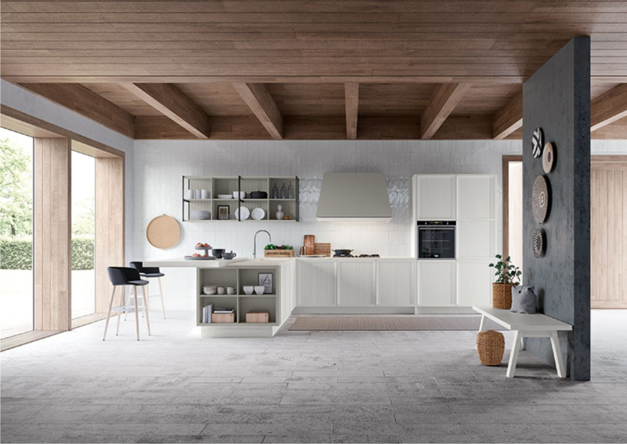 cucina bianca contemporanea Stosa