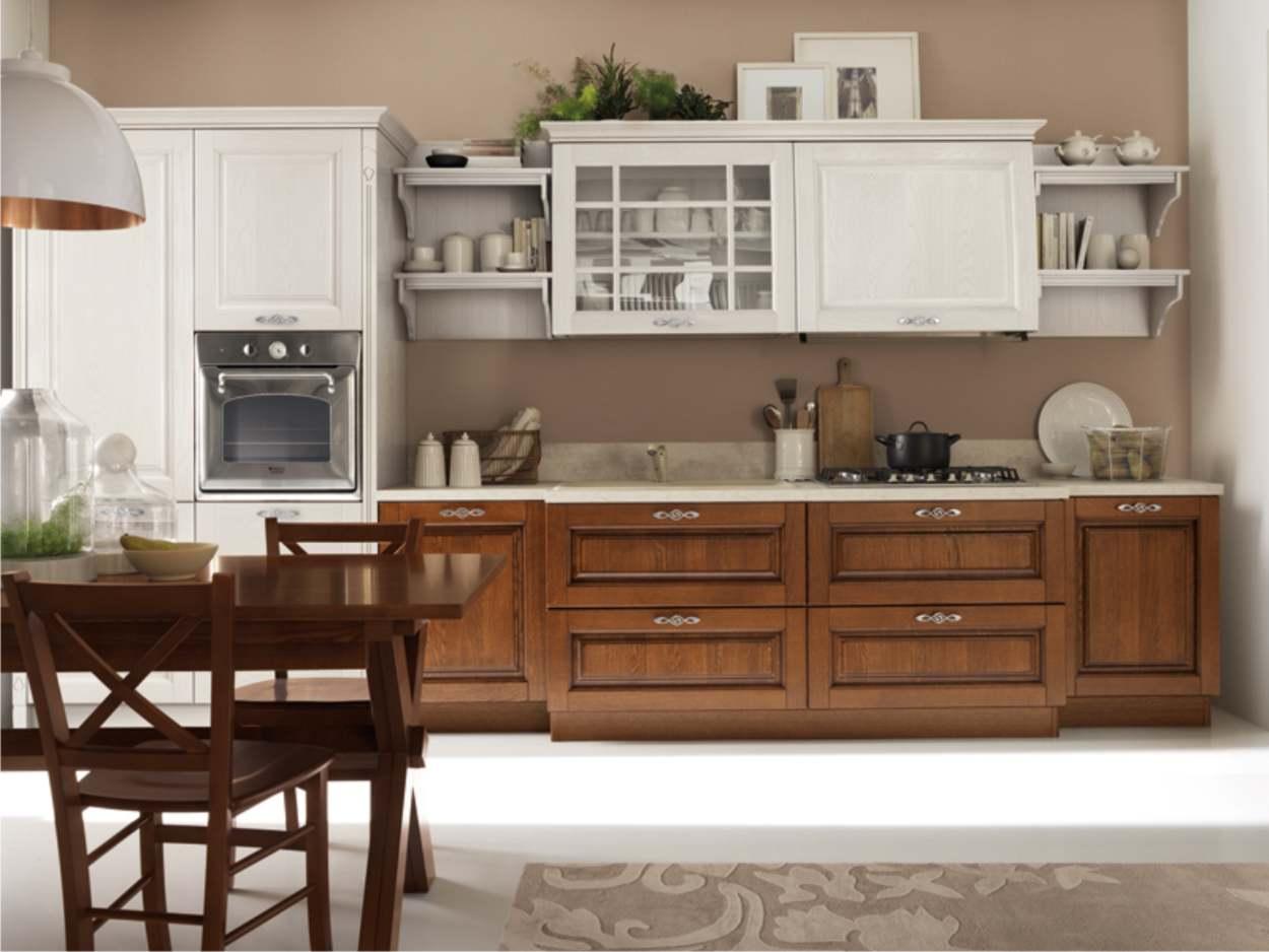 cucina lineare bianco e noce