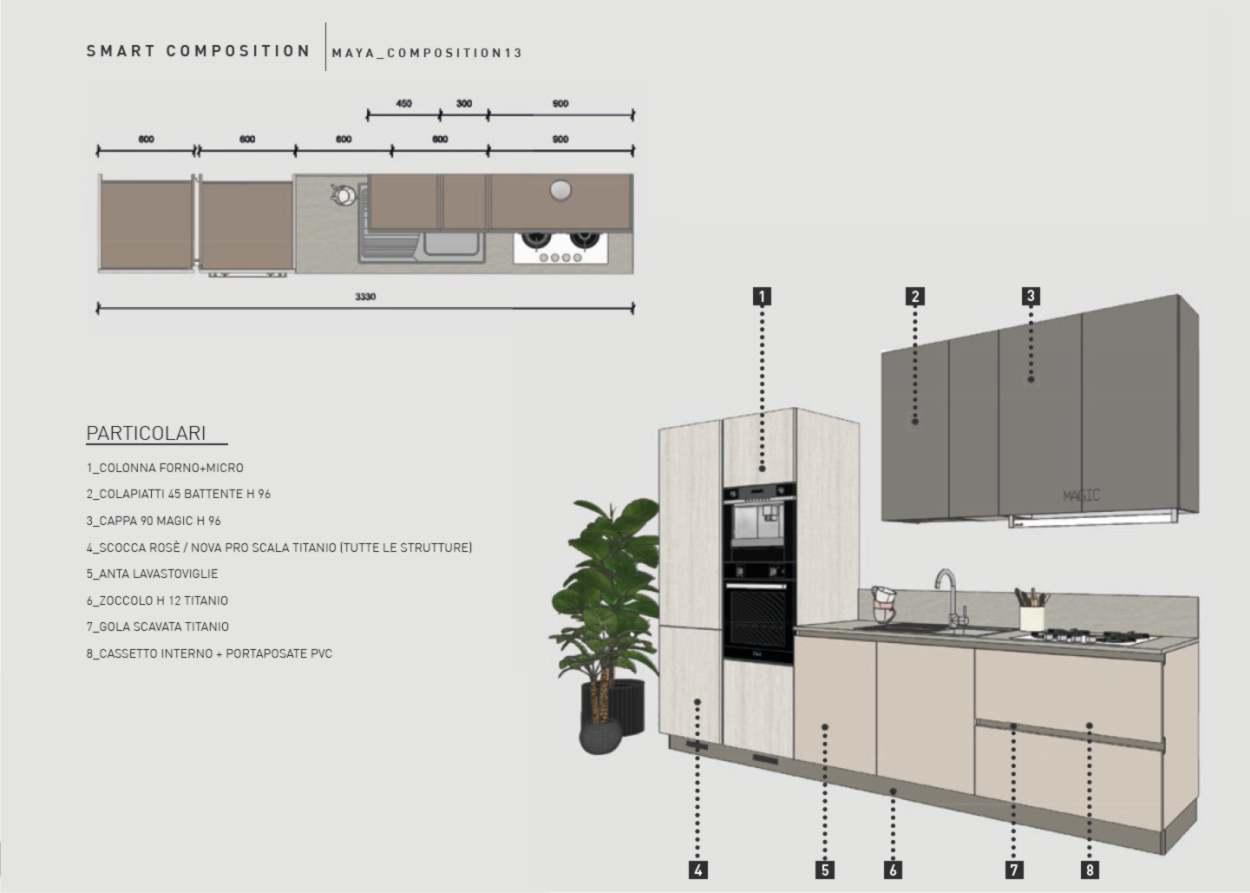 cucina compatta in soli 330 cm