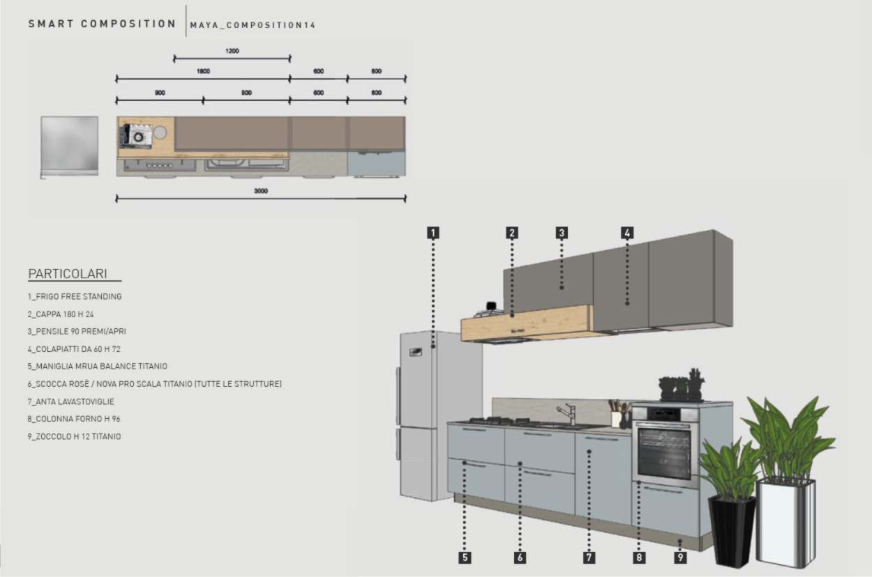 cucina di 3 metri