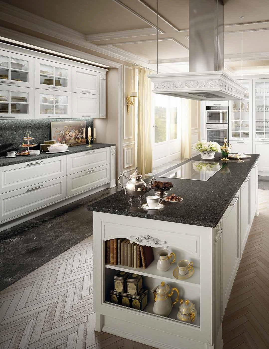 cucina classica con piano in pietra di marmo